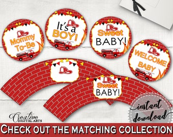 Cupcake Toppers And Wrappers Baby Shower Cupcake Toppers And Wrappers Fireman Baby Shower Cupcake Toppers And Wrappers Red Yellow Baby LUWX6