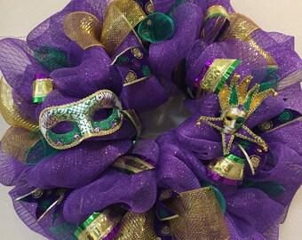 Mardi Gras wreath, wreath with masks, canival wreath