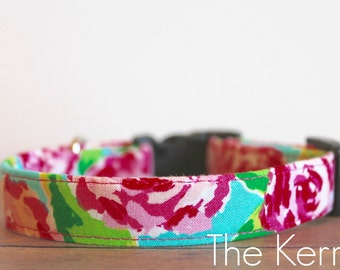 """Lilly Inspired, Pink Collar, Floral Collar, Flower Collar, Girly Dog Collar, Female Dog Collar, Girl Dog Collar """"The Kerrin"""""""