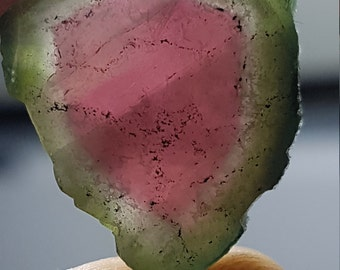 12.4 cts Watermelon Tourmaline Slice - Polished for jewelry or wire wraps or collection