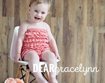 Petti Lace Romper Coral Pink Coral Girls Ruffle Baby Birthday Summer Outfit