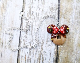 Minnie Mouse Sprinkled Donut Necklace
