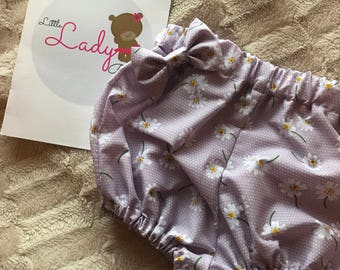 Daisy lilac bloomers and bow set