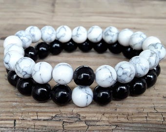 Relationship couple bracelets black and white bracelets for couple howlite bracelet black onyx bracelet long distance bracelets couple gift