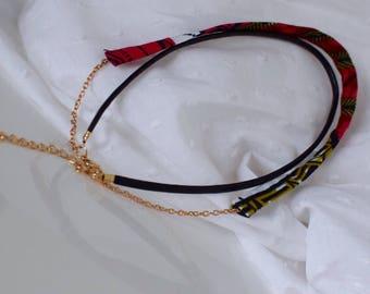 Layered chocker | leather chocker | fabric chocker | chocker necklace
