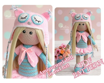 Crochet Doll Pattern Amigurumi Doll pattern Doll Amigurumi Tutorial Doll Toy PDF Pattern in English Crochet blond doll in owl hat pattern