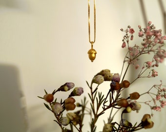 24kt goldplated tiny acorn necklace