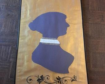 Rustic Jane Austen Silhouette Hanging