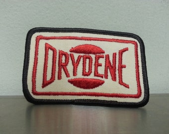 Vintage 80's Drydene Red White Rectangle Patch Craft Hat