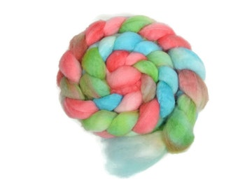BFL 4 oz hand dyed roving, Combed Top, Blue Faced Leicester spinning fiber, pink, aqua, lime - Gumdrops