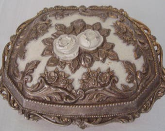 Vintage Repousse Footed JAPAN Trinket Jewelry Box w Raised White Roses, Hinged Lid