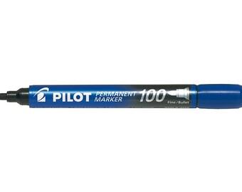 Pilot Permanent Marker 100, Fine Bullet Tip, Blue Single Pen, Glass Marker, Paper Marker, Water Resistant, Xylene & Toluene Free