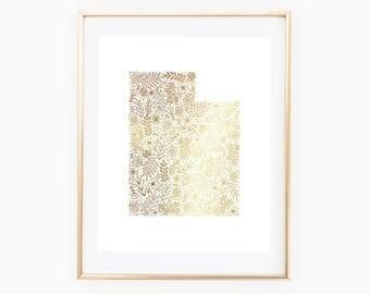 REAL GOLD FOIL Utah State Florals // Gold Foil // 8x10