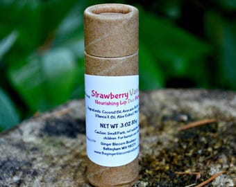 Strawberry Vanilla Duo Nourishing Lip Balm, natural, lipcare, earth friendly, moisturize, protect, strawberries, vanilla, accessories