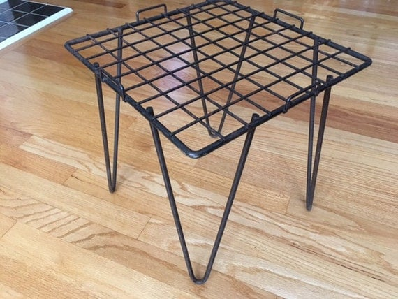 mid century modern wrought iron table plant stand with hair. Black Bedroom Furniture Sets. Home Design Ideas