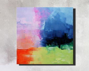 Abstract painting, original abstract art, Orange, blue, green, pink, oil, painting on canvas 40 x 40 cm - 160702