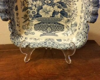 19th century sqaure shape confectionery or potpourri bowl in blue & white glazed porcelain