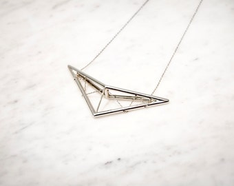 Geometric Necklace with Chain   Sterling Silver Statement Necklace   3d Printed Jewelry   Scissor Truss Pendant Necklace