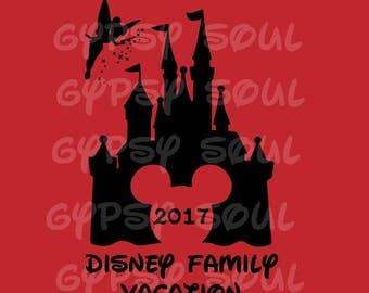 Disney Family Vacation 2017 Silhouette SVG Cricut Cut File Digital Instant Download Vacation Trip