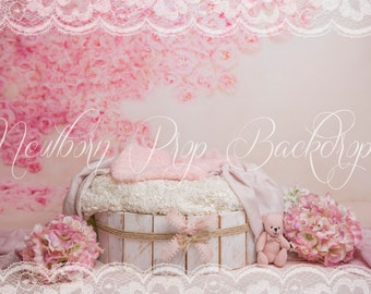 Newborn Digital Backdrop (bowl/white/pink/flowers/bear)