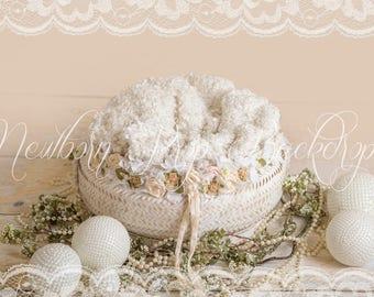 Newborn Digital Backdrop (white/basket/pearls))