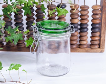 Italian canning jar, preserving jar, cookie jar, weck jar, glass jar, green jar, lidded jar, old preserving jar, old glass jar