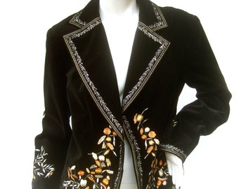 Embroidered Black Velvet Blazer Jacket