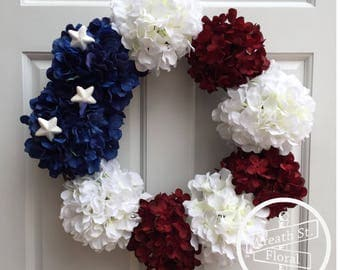 Patriotic Wreath, Hydrangea Wreath, 4th of July Wreath, Flag Wreath, Wreath Street Floral, Grapevine Wreath, Front Door Wreath