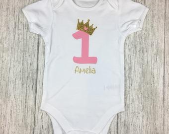 First birthday vests, gold one vest, 1st birthday, Birthday onesie, Personalised baby vest, cake smash, birthday outfit
