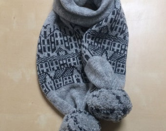Cashmere knitted scarf - fairisle pattern - scarf with pom-poms - luxury scarf - wool cashmere - hebden houses pattern - grey cashmere scarf