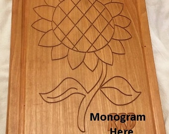Personalized Sunflower cutting board