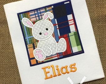 Boy Easter Bunny Shirt / Personalized Easter Outfit / Bunny Applique Shirt / Baby Easter / Toddler Easter / Madras Patchwork / Rabbit
