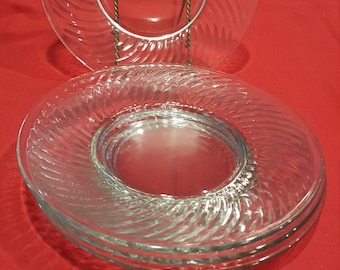 Vintage Federal Clear Glass Swirl Pattern Plate - Lot of 4
