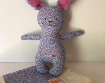 Pink and blue patterned bunny - small handmade fabric bunny