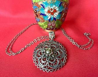 Vintage Silver Pendant Necklace, Silver Flower Necklace