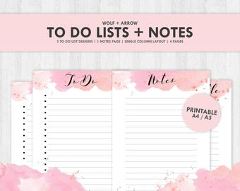 TO DO + NOTES / Lists / Printable / Inserts / Kikki K / Agenda / A5 / A4 / Pink Watercolour