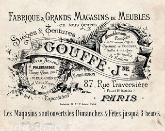 Water Decal Print transfer to furniture, wood or paper – Water Decal Print Transfer – Vintage French Gouffe Fabrique Advert #063