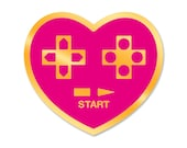 PRE-ORDER - Gamer at Heart - Video Game Nintendo PS Xbox Hard Enamel Pin - Pink, Blue, White, Black, and Gold - Lapel Pin Cloisonné Badge