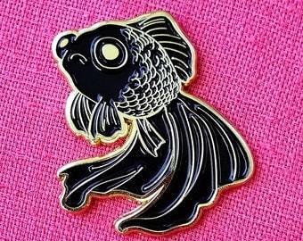 Sad Fish Soft Enamel Pin - Gold and Black - Lapel Pin Badge - Goldfish Black Telescope