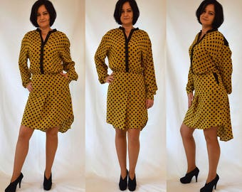 Polka dots, ocher yellow, black, shirt style, comfortable, summer dress with side pockets, long sleeves  ( UK Sizes 12-14, 16-18)