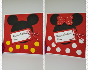 Personalised Mickey Minnie Mouse Character Card Handmade Wife Husband BD54