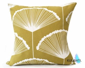 large cushion mustard cushion mustard yellow ginkgo leaf mustard pillow botanical