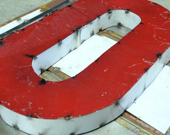 """Industrial Metal Letter O, 20"""" Recycled, Block Letter O Sign, 2-Tone Red & Teal, white sides"""