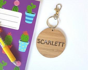 Bag Tag / Keyring Wood Bamboo Personalised Custom - Scarlett Font-school-wooden-round