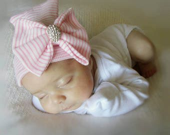 Baby girl newborn hat with bow and rhinestone- baby girl hat, newborn beanie, hat baby girl, newborn girl, newborn hat, baby shower gift