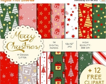 80% Until New Year - Christmas digital paper /12 FREE clipart/ · red green and white backgrounds with gift boxes Christmas trees and snowfla