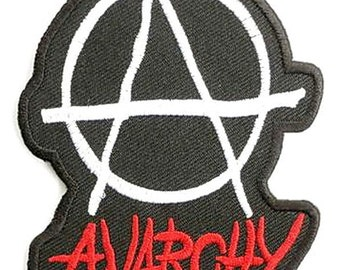 """Anarchy Punk Rock Logo Embroidered Iron On Patch 3.5"""""""