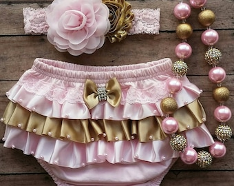 pink and gold baby bloomer set - baby pink satin bloomer - pink and gold baby necklace - baby satin ruffles bloomer - pink and gold headband