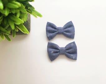 Mini Addi Bows|Chambray|Pigtail set