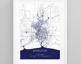 TRAVEL MAP Print Bangkok, Thailand. Handmade, A4 or A3 size + FREE Poster